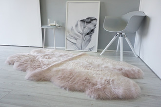 Genuine Australian Quad (4) Sheepskin Rug - Super Soft Silky Blush Pink Wool