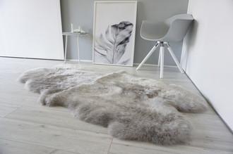 Genuine Australian Quad (4) Sheepskin Rug - Super Soft Silky Silver Wool