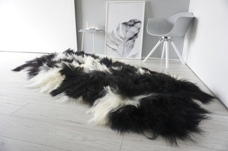 Luxury Genuine Quad (4) Icelandic Sheepskin Rug - Natural White Black Brown Mix - Super Soft Silky Long Wool - QI 12