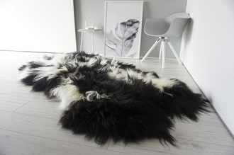 Luxury Genuine Quad (4) Icelandic Sheepskin Rug - Natural White Black Brown Mix - Super Soft Silky Long Wool - QI 13