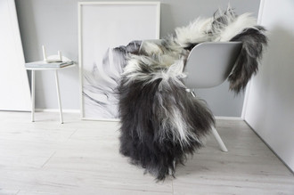 Genuine Single Icelandic Sheepskin Rug - Blacky Brown | Creamy White Mix - Soft Touch Long Wool - SI 346