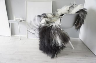 Genuine Single Icelandic Sheepskin Rug - Blacky Brown | Creamy White Mix - Soft Touch Long Wool - SI 347