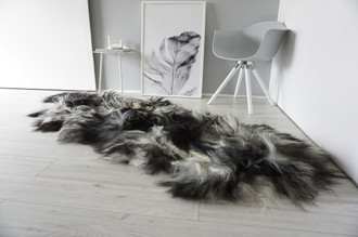 Genuine Rare Breed Icelandic - Double (2) Natural Sheepskin Rug Creamy White | Blacky Brown | Ivory Mix - DI 41