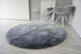 Genuine Round Sheepskin Rug - Short Dyed Silver, Grey, Blue, Ash mix Wool - RN 11