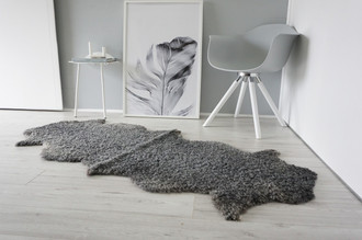 Genuine - Exclusive Swedish Gotland Double (2) Sheepskin Rug - Soft Curly Wool - Natural Grey | Silver | Ash Mix -DG 1