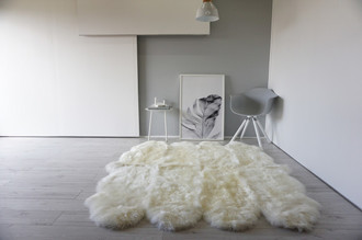 Genuine Australian Octo (8) Sheepskin Rug - Super Soft Silky Cream White Wool
