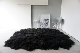 Genuine Octo (8) Icelandic Sheepskin Rug -  Soft Silky Long Wool - Natural Black Brown Mix color