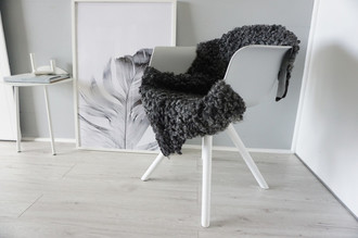 Genuine - Exclusive Swedish Gotland Sheepskin Rug - Soft Curly Wool - Natural Grey | Silver | Ash Mix - SG 184