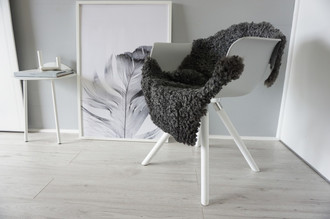 Genuine - Exclusive Swedish Gotland Sheepskin Rug - Soft Curly Wool - Natural Grey | Silver | Ash Mix - SG 190
