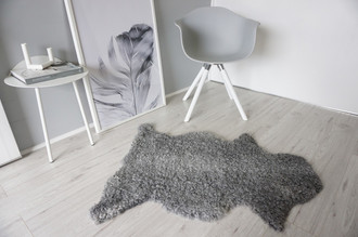 Genuine - Exclusive Swedish Gotland Sheepskin Rug - Soft Curly Wool - Natural Grey | Silver | Ash Mix - SG 194