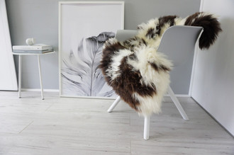 Genuine Natural Single Jacob Sheepskin Rug - Spotted Soft Thick Wool - Choco Brown | Cream White - SN 241
