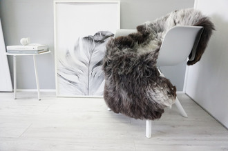 Genuine Natural Single Sheepskin Rug - Soft Thick Wool - Brown | Black |Grey | Ash | White mix - SN 252