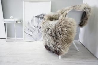 Genuine Natural Single Sheepskin Rug - Soft Thick Wool - Brown | Beige | Grey | Silver | Latte mix - SN 255