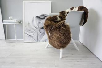 Genuine Natural Single Jacob Sheepskin Rug - Soft Thick Wool - Choco Brown | Cream white mix - SN 261