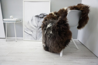 Genuine Natural Single Sheepskin Rug - Soft Thick Wool - Cream White   Grey   Choco Brown mix - SN 277