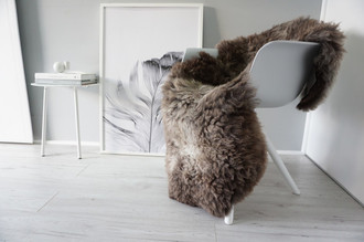 Genuine Natural Single Sheepskin Rug - Soft Thick Wool - Brown | Latte | Ash | Grey mix - SN 284