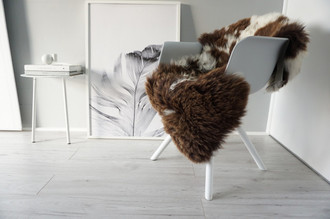 Genuine Natural Single Sheepskin Rug - Soft Thick Wool - Choco Brown | White Mix mix - SN 294