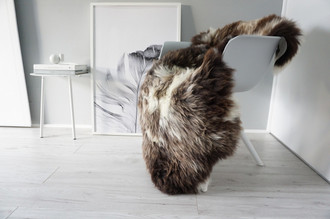 Genuine Natural Single Sheepskin Rug - Soft Thick Wool - Grey | Brown | Ash | White Mix - SN 296