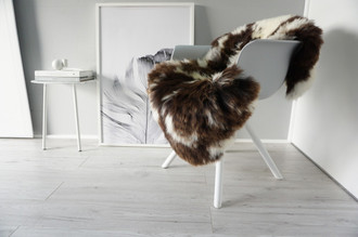 Genuine Natural Single Jacob Sheepskin Rug - Soft Thick Wool - Choco Brown | Cream white mix - SN 301