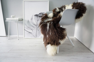 Genuine Natural Single Sheepskin Rug - Soft Thick Wool - Choco Brown | Cream White Mix - SN 306