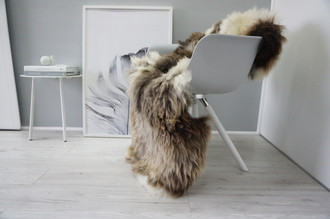 Genuine Natural Single Sheepskin Rug - Soft Thick Wool - Brown | Cream White | Grey | Ash Mix - SN 308