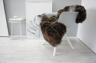 Genuine Natural Single Herdwick Sheepskin Rug - Soft Thick Wool - Brown | Choco | Cream White mix - SN 309