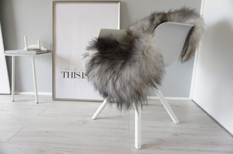 Genuine Icelandic Sheepskin Rug - Blacky Brown | Grey | Silver Mix - Super Soft Touch Long Wool - SI 360
