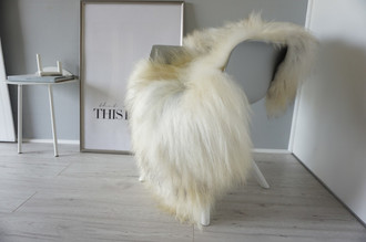 Genuine Icelandic Sheepskin Rug - Cream white | Silver | Latte Mix - Super Soft Touch Long Wool - SI 365