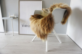 Genuine Icelandic Sheepskin Rug - Cream white | Rusty brown Mix - Super Soft Touch Long Wool - SI 366