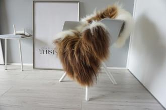 Genuine Icelandic Sheepskin Rug - Cream white | Rusty brown Mix - Super Soft Touch Long Wool - SI 367