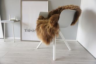 Genuine Icelandic Sheepskin Rug - Rusty brown Mix - Super Soft Touch Long Wool - SI 368