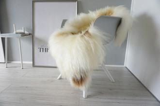 Genuine Icelandic Sheepskin Rug - Cream white | Rusty brown Mix - Super Soft Touch Long Wool - SI 370