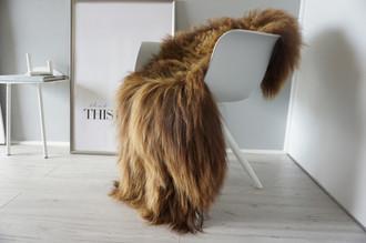 Genuine Icelandic Sheepskin Rug - Rusty brown Mix - Super Soft Touch Long Wool - SI 371