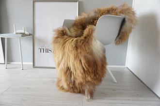 Genuine Icelandic Sheepskin Rug - Rusty brown | Silver | Cream white Mix - Super Soft Touch Long Wool - SI 374