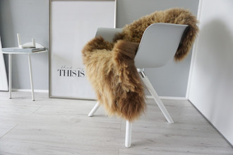 Genuine Icelandic Sheepskin Rug - Rusty brown Mix - Super Soft Touch Long Wool - SI 376