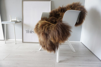 Genuine Icelandic Sheepskin Rug - Rusty brown Mix - Super Soft Touch Long Wool - SI 377