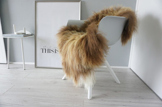 Genuine Icelandic Sheepskin Rug - Rusty brown | Cream white Mix - Super Soft Touch Long Wool - SI 378