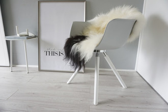 Genuine Icelandic Sheepskin Rug - Cream white | Black Mix - Super Soft Touch Long Wool - SI 380
