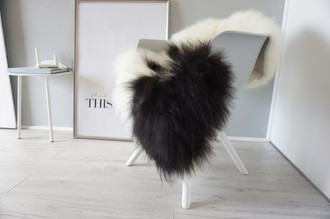 Genuine Icelandic Sheepskin Rug - Cream white | Blacky brown Mix - Super Soft Touch Long Wool - SI 381
