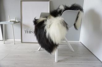 Genuine Icelandic Sheepskin Rug - Blacky brown   Cream white Mix - Super Soft Touch Long Wool - SI 391