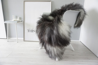 Genuine Icelandic Sheepskin Rug - Blacky Brown | Silver | Ash Mix - Super Soft Touch Long Wool - SI 405