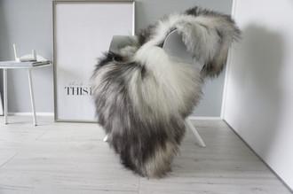 Genuine Icelandic Sheepskin Rug - Cream white | Silver | Blacky brown | Latte Mix - Super Soft Touch Long Wool - SI 409