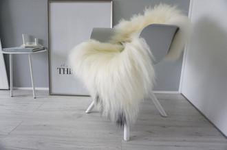 Genuine Icelandic Sheepskin Rug - Cream white | Blacky brown Mix - Super Soft Touch Long Wool - SI 410