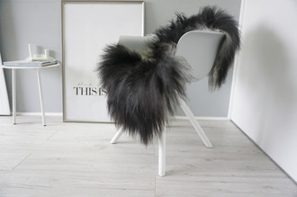 Genuine Icelandic Sheepskin Rug - Cream white | Blacky brown | Silver Mix - Super Soft Touch Long Wool - SI 412