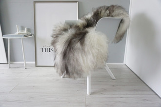 Genuine Icelandic Sheepskin Rug - Cream White | Blacky Brown Mix - Super Soft Touch Long Wool - SI 414