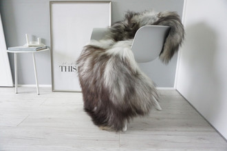 Genuine Icelandic Sheepskin Rug - Cream White | Blacky brown | Grey | Ash Mix - Super Soft Touch Long Wool - SI 417