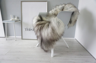 Genuine Icelandic Sheepskin Rug - Silver | Blacky brown | Grey Mix - Super Soft Touch Long Wool - SI 419
