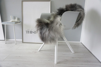 Genuine Icelandic Sheepskin Rug - Silver | Blacky brown | Cream white Mix - Super Soft Touch Long Wool - SI 420