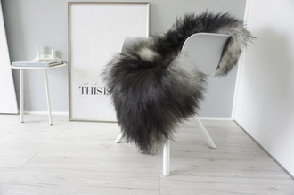 Genuine Icelandic Sheepskin Rug - Silver | Blacky brown | Grey Mix - Super Soft Touch Long Wool - SI 421