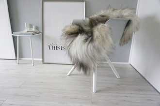 Genuine Icelandic Sheepskin Rug - Silver | Blacky brown | Grey Mix - Super Soft Touch Long Wool - SI 423